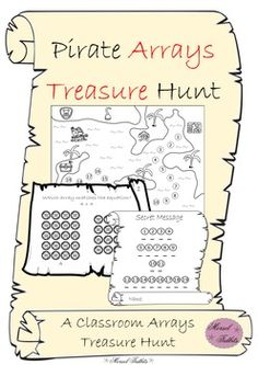 Review arrays in an interactive classroom treasure hunt! 19 pirate themed question clues will have students practicing knowledge of arrays while unlocking a secret message. The final clue leads the young pirates to you, their captain, in hopes of earning treasure.Arrays Questions Scope: identifying the correct array from equations writing equations for a given array drawing arrays for an equation splitting larger arrays into smaller arrays identifying errors in a pictured arrayIncludes: 19…