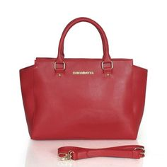 Michael Kors Selma Saffiano Large Red Satchels