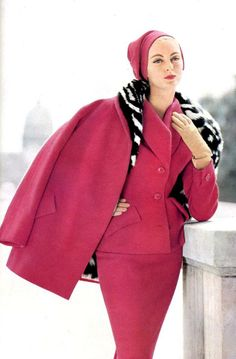 Carmen is wearing civet lined ensemble by Jean Patou (1954)