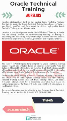 Aurelius distinguished itself as the leading Oracle Technical Training Institute in Noida. Our Oracle Technical Training Consultants or Trainers are highly qualified and Experienced to deliver high-quality Oracle Technical Training across All over India.