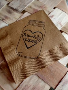 Rustic Personalized Burlap Brown Mason Jar Wedding Cocktail Napkins with Large Heart Couples Names and Wedding Date- set of 50. $30.00, via Etsy.