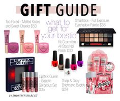 """Gift Guide: For Your Bestie // Contest Entry"" by fashionistaharley ❤ liked on Polyvore featuring Soap & Glory, Smashbox, giftguide, Bestie and contestentry"