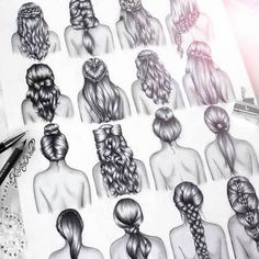 Hair Drawings. Beautiful. Amazing. (Tresse. Chignon. Noeud. Cheveux. Bouclés)