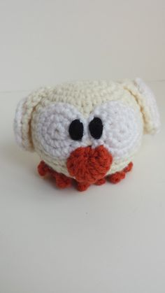 Crocheted Stuffed Owlet White by MegsMinions on Etsy, $8.00