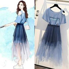Phối màu khá bắt mắt, mong là mặc lên sẽ tôn dáng😘😘 Kpop Fashion Outfits, Girls Fashion Clothes, Mode Outfits, Cute Fashion, Dress Outfits, Fashion Drawing Dresses, Fashion Illustration Dresses, Fashion Dresses, Drawing Fashion