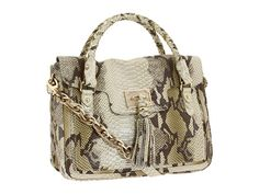 Elliott Lucca Handbags Cordoba Flap Satchel Tote in Sage Exotic snakeprint leather