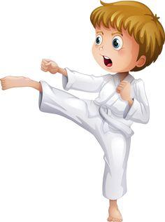 A brave boy doing his karate moves Royalty Free Vector Image Taekwondo, Jiu Jitsu, Karate Shotokan, Karate Moves, Little Sport, School Clipart, Drawing Practice, Kids Sports, Young Boys