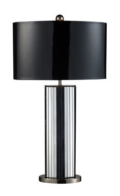 Dimond D1893 Shreve Table Lamp In Mirror And Black Nickel With Oval Black Patent Shade And Silver Liner