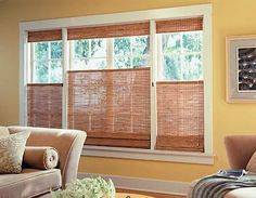 Woven Wood Shades from Budget Blinds come in a wide variety of beautiful styles. Schedule a free in-home consultation to see our full line of Woven Wood Shades. Wooden Shades, Windows, Yellow Walls, Contemporary Window Treatments, Wooden Blinds, Woven Wood Shades, Window Coverings, Window Shades, House Interior