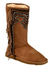 Montana West Studded Fringe Faux Shearling Boots