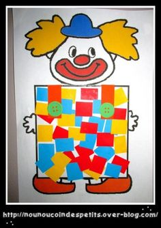 mosaic clown simply colored paper collage you can print the clown in color here mon partage fr for the one in coloring it is here mon partage fr 3 - The world's most private search engine Clown Crafts, Circus Crafts, Carnival Crafts, Halloween Crafts, Craft Kits For Kids, Art For Kids, Activities For Kids, Crafts For Kids, Preschool Circus