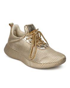 Shoes Qupid HC93 Women Metallic Ridged Light Weight Lace Up Jogger Sneaker