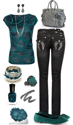 """""""Teal and Black"""" by crzrdnk77 on Polyvore"""