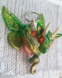 Green and Gold  Dragon Pendant by MakoslaCreations on Etsy, $35.00