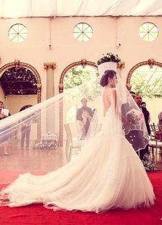wedding dress and long veil
