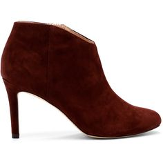 Sole Society Daphne Dressy Bootie found on Polyvore featuring shoes, boots, ankle booties, red wine, bootie boots, red stilettos, suede ankle booties, suede booties and stiletto ankle boots