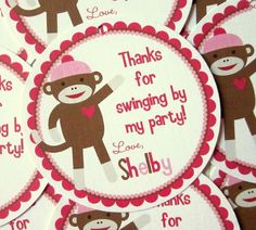 New- Silly Sock Monkey for Girls Party Favor Tags- Baby Showe Birthday and More. $6.00, via Etsy.