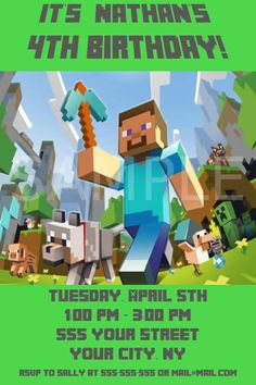 Minecraft Party :: Invitation :: LOVE this one! etsy personalized printable invite