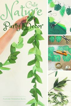 Events Craft: Free Nature Decor Printables - Irene Morales - Welcome to the World of Decor! Paper Flowers Diy, Diy Paper, Paper Crafts, Dinosaur Birthday Party, Leaf Garland, Event Themes, Craft Free, Tropical Party, Birthday Party Decorations