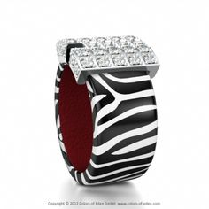MANHATTAN | Designer Leather Ring with Diamond vvs1/F in Leather Zebra Pattern and Supersoft Inside Leather Red