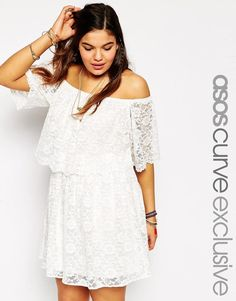 ASOS Curve | ASOS CURVE Cold Shoulder Dress In Gypsy Lace at ASOS