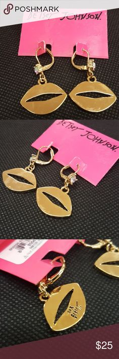 Betsey Johnson gold lip earrings Crrystal at top Betsey Johnson Jewelry Earrings