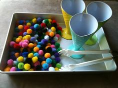 For the Love of Learning: Toddler Tray: Invitation To Play - Pretend Ice Cream Sundae Scooping