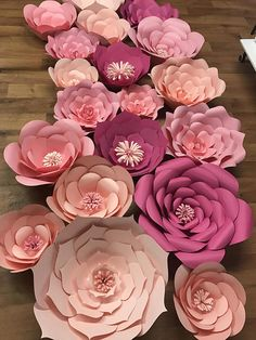 20 Large Paper Flower Backdrop, Party Decoration, Birthday Wall Decor, Wedding I cut and handmade th Large Paper Flowers, Paper Flower Wall, Paper Flower Backdrop, Baby Shower Party Favors, Baby Shower Cupcakes, Baby Shower Themes, Shower Ideas, Birthday Wall, Baby Shower Vintage
