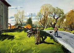 COUNTRY ROAD - Hardie Gramatky was an amazing watercolor artist, see more of his work here: http://www.gramatky.com