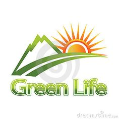 Green life logo. Mountain and sun
