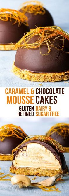 & Dairy Free Caramel Mousse Cakes {gluten, dairy, nut & soy free, refined sugar free option} - A super easy recipe for mousse cakes with a refined sugar free caramel mousse and a delicious dark chocolate shell. Complete with a gluten and dairy free cookie Fancy Desserts, Sugar Free Desserts, Sugar Free Recipes, Köstliche Desserts, Dessert Recipes, Cake Recipes, Fancy Chocolate Desserts, Gluten And Dairy Free Desserts Easy, Zumbo Desserts