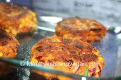 Sweetcorn Sunrise Vegan Burgers |   polenta (cornmeal ground)  self-raising flour  egg  corn flour curry powder sundried tomatoes Spanish onion,  cheese  parsley grated carrot