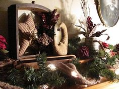Primitive Christmas...burlap lights!