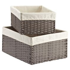 """**Not tall enough (medium), but best choice from the Container Store.**  Montauk Rectangular Bins from the Container Store.  Made from woven polypropylene.  Natural cotton liner is machine washable.  Medium = $20, 11"""" x 15"""" x 6-1/2"""" h.  Large = $25, 18-1/4"""" x 14"""" x 8-1/2"""" h."""