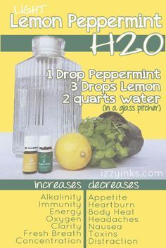 Need to up your water intake? Boost the flavor and your energy with Light Lemon Peppermint H2O. It will keep you reaching for your water bottle. Young Living Essential Oils make it yummy!