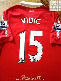 39de2516e 2010 11 Man Utd Home Premier League Football Shirt Vidić  15 (S)