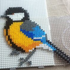 Bird hama perler by fruelmer by simone Perler Bead Designs, Hama Beads Design, Diy Perler Beads, Pearler Beads, Fuse Beads, Melty Bead Patterns, Pearler Bead Patterns, Perler Patterns, Beading Patterns