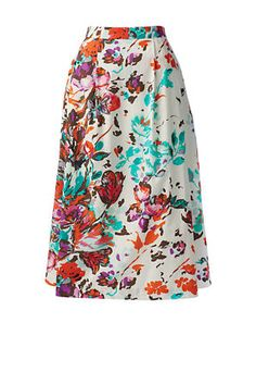 Women's Stretch Poplin Midi Skirt from Lands' End