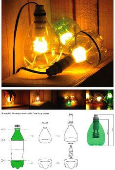 Lampy z plastikowych, kolorowych butelek PET