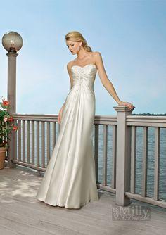 Column Beads Sweet Heart Taffeta Silver Beach Wedding Dresses