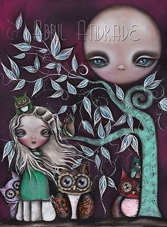 """Night Creatures - Original Abril Andrade Griffith Painting, Size 18x24"""" Oils and Acrylics $625.25"""
