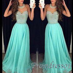 Beautiful long prom dress, ball gown, beaded green chiffon evening dress for…