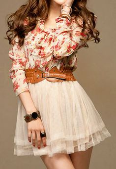 Bohemia Style Floral Print Bowknot Chiffon Bubble Dress for