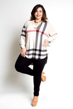 Plus Size Clothing for Women - Jessica Kane Plaid Top - Ivory (Sizes 16 - 22) - Society+ - Society Plus - Buy Online Now!