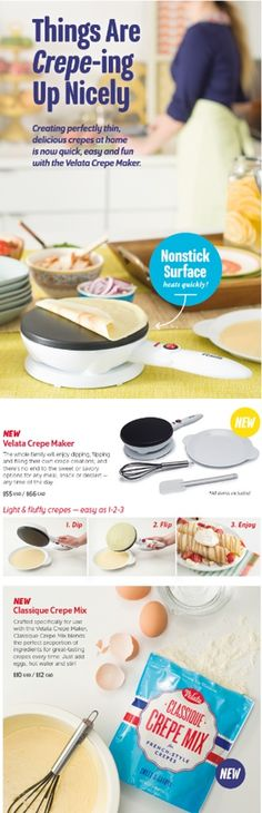 Our Crepe Maker makes it simple and quick to make delicious crepes for dessert or dinnertime.  $55.00 #ilovecrepes  #crepes  #family