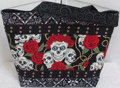 Skulls and Roses Large Tote Bag  by Mokadesigntotes