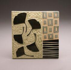 Ginko Leaves, 6x6 tile, by Ruchika Madan.
