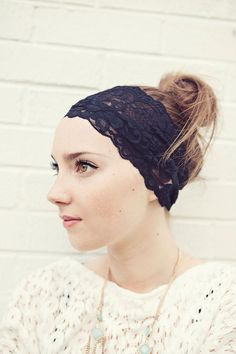 Wide Black Floral Stretch Lace Headband READY TO SHIP. $18.00, via Etsy.