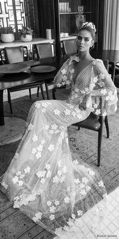 elihav sasson spring 2018 bridal deep v neck illusion bouffant long sleeves ruched bodice sheath wedding dress (vj 017) mv princess romantic -- Elihav Sasson 2018 Wedding Dresses #wedding #bridal #weddingdress #romantic #lace