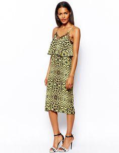 Изображение 1 из Леопардовое платье-комбинация с кружевной вставкой RiverIsland